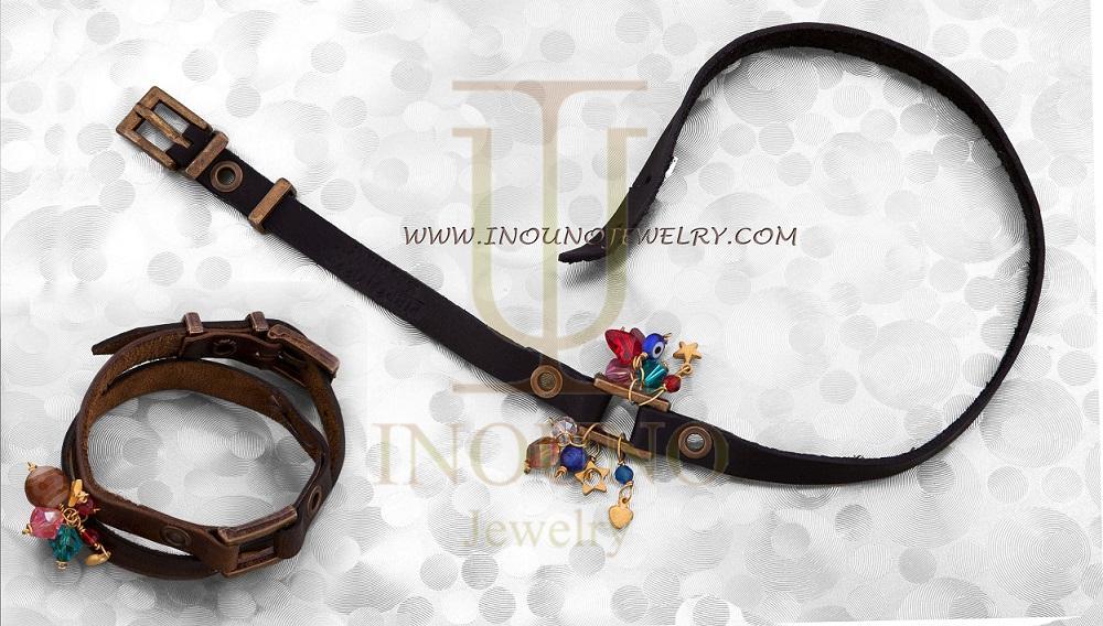 خرید دستبند مردانه چرم و طلا